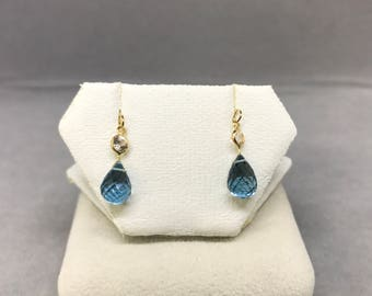 14k Yellow Gold Natural Topaz (4.80 ct in total) and Natural Sapphire (0.35 ct) Earrings, Appraised 800 CAD