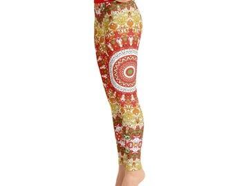 Summer Printed Leggings. Bright Womens Leggings. Wild Spring Mandala Yoga Leggings. Mandala Pants. Yoga Pants. Yoga Tights