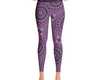Mandala Leggings - Purple and Gray Yoga Pants, Printed Leggings, Flower Pattern Yoga Tights, Art Leggings