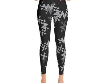 Triangle Leggings - Black and Gray Square and Triangle Pinwheel Design Printed Leggings, Yoga Pants