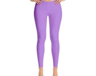 Lavender Leggings - Mid Rise Waist Workout Pants, Womens Yoga Leggings