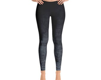Gray Ombre Leggings - Grunge Gray and Black Leggings, Ombre Tights, Yoga Leggings, Yoga Pants, Stretch Pants