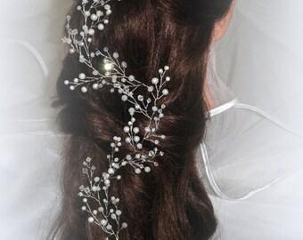 bridal super extralong pearl hair vine, bridal hair vine, wedding hair vine, bohemian,  bridal hair piece, headpiece , hair piece, headband