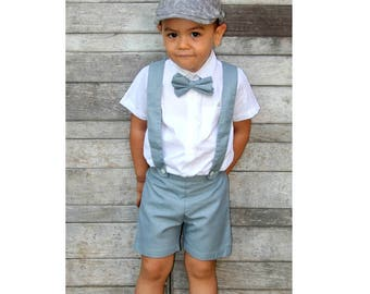 Boy Suspender Shorts-Grey,Boy suit,Page Boy,Christening Outfit,Ring Bearer,Baptism boy, Toddler Shorts with Braces,Wedding attendant boy