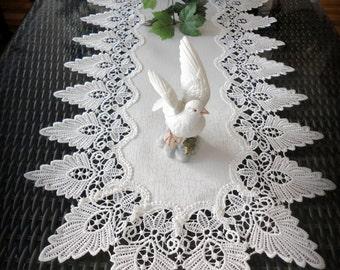 """36"""" Antique White Dresser Table Runner Formal European Lace Doily"""