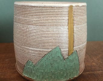 Cup with Hand Carved Mountain Design