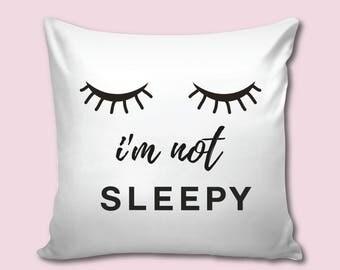 Sleepy Eyes Decorative Pillow, Sleepy Eyes Decor, Mint Nursery Pillow, Throw Pillow, Scandinavian Modern Nursery, Girl Baby Shower, Scandi