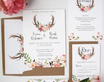 Antler Wedding Invitations - Blush Pink - Wedding Invitations - Deposit