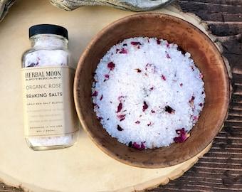ORGANIC ROSE aromatherapy soaking salts • pink Himalayan sea salt, organic roses • vegan friendly, cruelty-free • 8oz glass bottle
