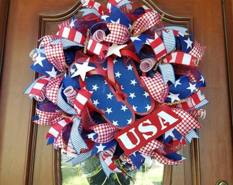 Patriotic Wreath, Memorial Day Wreath, 4th of July Wreath, USA Wreath, Mesh Wreath, Summer Wreath, Sandals Wreath, Patriotic Mesh Wreath
