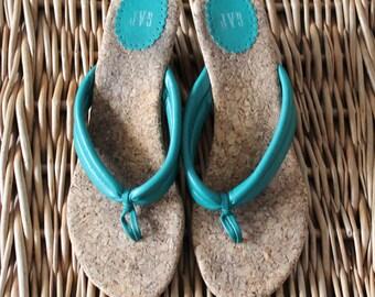 Turquoise Sandal 7 / Cork Sandal / Wedge Sandal