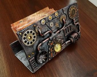 Steampunk Business Card Holder. Metal Card Holder.