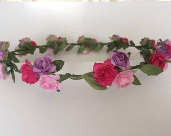 Summer crown, flower girl crown, toddler headband, pink purple and magenta rose crown, music festival headpiece, cute and fun headband