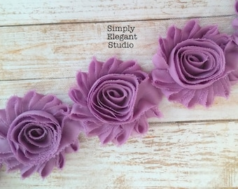 "Dusty Lavender Chiffon Shabby Chic Flower, 2.5"" Chiffon Flowers, Headband Flower Flower by the Yard"