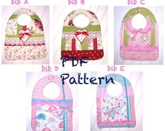 Baby bibs pattern, Fancy bib pattern, Bib Quilt Pattern, 5 - Baby bibs quilt pattern, fancy bib pattern, PDF Pattern quilted bibs