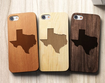 Texas State Silhouette iPhone 7 Wooden Cell Phone Cover also for SE 5 5s 5c 6 6s 6 Plus and 7 Plus Case | Real wood cell phone cover