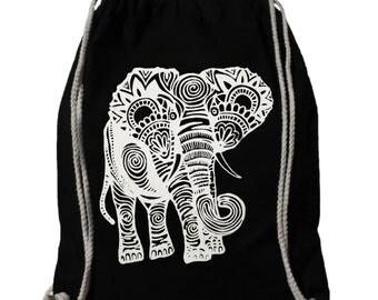 "Gym bags, ""Indian Elephant"", white on black, cotton"