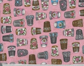Thimble Pleasures - Per Yd - Quilting Treasures - Thimbles on Pink