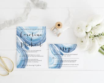 Printable Blue Watercolor Rock Geode Wedding Invitation Template Print, Custom Printable Wedding Set, Printable RSVP Details