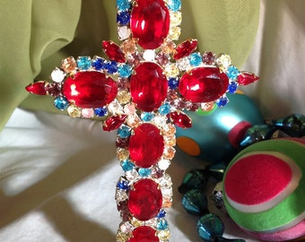 Vintage Red Rhinestone Cross, Brilliant Ruby Red Crystal Cross...OOAK..
