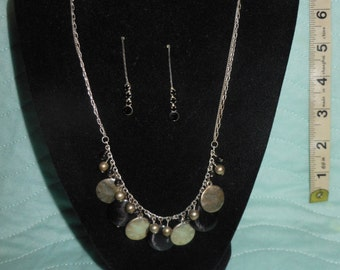 Vintage Black and Silver Round Glass Beaded Necklace Set with Matching Ear Rings
