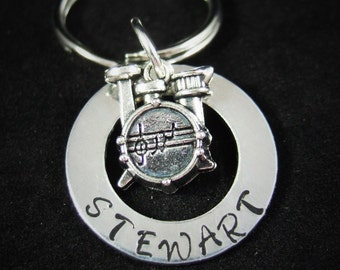 Drums Keychain, Drummer Keychain or Necklace, Marching Band Gift, Music Teacher Gift, Band Gift