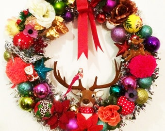 55 cm wide Kitsch Christmas Wreath - Made to Order