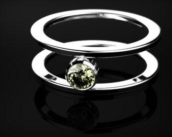 Peridot Ring White Gold Engagement Ring White Gold Peridot Ring Peridot Engagement Ring Gemstone Ring Peridot Ring August Birthstone Ring