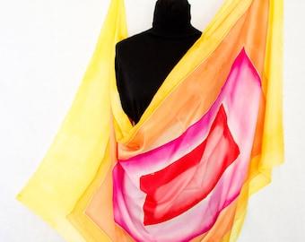 silk handmade ; cover back ; multicolored shawl ; stole light and bright ; foulard streaked ; colored silk handkerchief