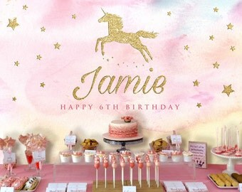 Unicorn Backdrop | Party Banner | Poster | Signage | Personalised | Printable ONLY | Birthday Backdrop