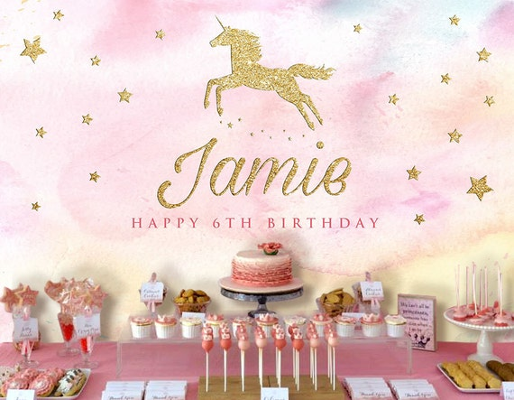 Unicorn Backdrop Party Banner Poster Signage