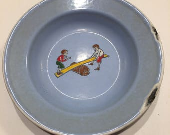 Vintage German Enameled Bowl/Dish with Boys on See Saw