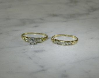 Jabel Engagement /Wedding Ring Set Old Cut Diamond(size 6.25)