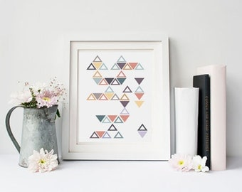 geometric wall decor scandinavian print triangle art pastel painting colorful wall art - Wall Designs For Girls Room
