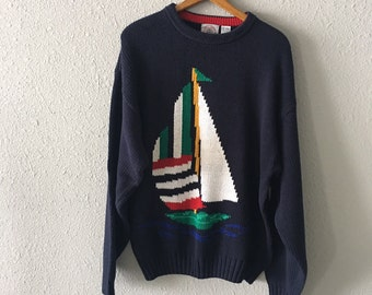 Vintage Sailboat Graphic 1990's Cape Isle Knitters Nautical Sweater