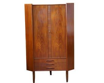 "Danish Mid Century Modern Teak Corner Cabinet - ""Mathias"""
