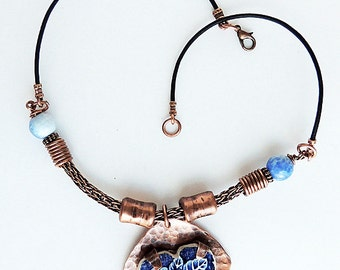 """Copper """"Broken China"""" Heart Pendant with Viking Knit and Leather Necklace"""