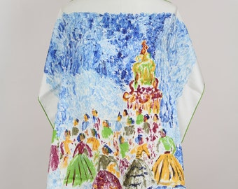 JACQUES FATH 1950s Vintage Silk Twill Painted Scarf Ball Scene Impressionist Style Gift for Her