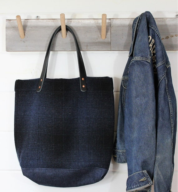 Navy Ombre Plaid Wool Tote
