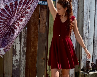 Maroon Dress| Spin Dress | V-neck Dress| Flattering Dress| Block Colour Dress| Jersey Dress| Handmade Dress | Summer Dress| Winter Dress
