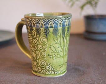 Swirls and Tree Mug; tree mug, swirls mug, tree of life, slab mug, handmade, handbuilt, coffee cup, tea cup, coffee mug, pottery, ceramic