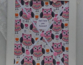 "Pink Owls Bulletin Board Pink & Black Owl Wall Decor Owl room decorations 18"" x 22"" wood memory board girls room boys room owl themed office"