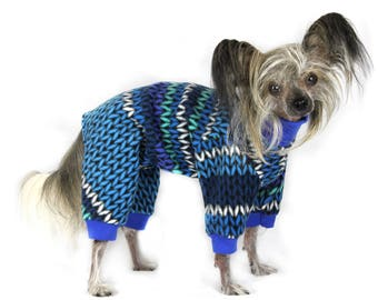 SWEATER KNIT PRINT Fleece Dog Pajamas Your Choice color Cuffs& Collar by ComfyStyles Chinese Crested Large Dog Italian Greyhound All Breeds