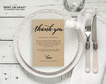 "Wedding Thank You Card, Rustic Wedding, Thank You Printable, Wedding Calligraphy, Wedding Table Thank You, Agenda   4x6""   No. EDN 5488Black"