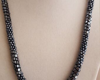Steely Silvery Gray Kumihimo Braided Necklace