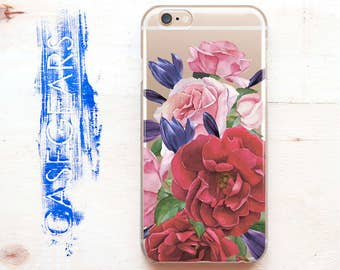 Red Florals iPhone 6 Case Flowers Phone 6 Plus Rose case 5s iPhone case SE case phone 7 case phone Case phone note 7  S6 phone case CGCP0109