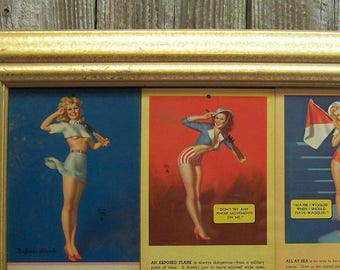 Vintage WWII WAR TIME Hollywood Regency 1940's Deco Pin-Up Girl Calendar Advertising Cards Under Glass in Ornate Gold Frame by Earl Moran