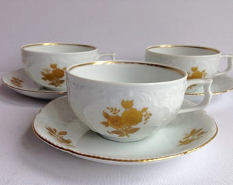 Set of 3 Vintage Rosenthal Cups and Saucers Germany