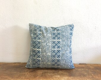 "Vintage 16"" by 16"" Thai Cushion Cover Hmong Hill Tribe Ethnic Batik Indigo Thai"