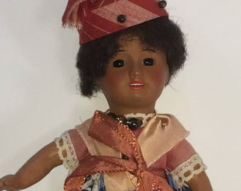 Antique Unis France 60 Doll - Bisque Head - Stationary Glass Eyes - 5 Piece Composition Body - Original Outfit - 38-14